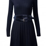Black Long Sleeve Belt Cable Knit Sweater Dress | My Style , 7  Long Sleeve Black Sweater Dress In Fashion Category