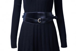 Fashion , 7  Long Sleeve Black Sweater Dress : Black Long Sleeve Belt Cable Knit Sweater Dress | My Style