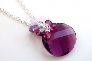 Jewelry , 7 Swarovski Crystal Necklace Etsy : Amethyst Swarovski Crystal Coin Necklace on Etsy
