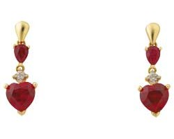 Jewelry , 13 Argos Gold Drop Earrings : Argos Gold Created Ruby and Diamond Heart Drop Earrings