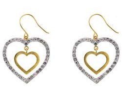 Jewelry , 13 Argos Gold Drop Earrings : Argos Gold Glitter Heart Drop Earrings