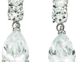 Jewelry , 13 Argos Gold Drop Earrings : Argos White Gold Pear Drop Cubic Zirconia Earrings