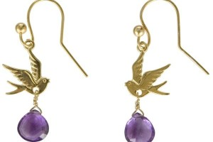Jewelry , 8 Gold Drop Earrings : Assya Single Gold Dove Drop Earrings