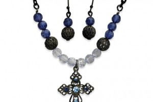 Jewelry , 6 Blue Crystal Necklace And Earring Set : ... Light and Dark Blue Crystal Earrings and 16in Cross Necklace Set