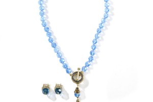 Jewelry , 6 Blue Crystal Necklace And Earring Set : BLUE FACETED CRYSTAL BEADED NECKLACE and EARRING SET