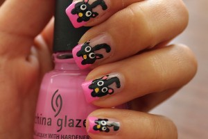 Nail , 7 Black Kitty Nail Art : Black Cats on Pink French Nails