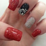 Black Red Silver with Lace Nail Design , 6 Black Red Nail Design In Nail Category