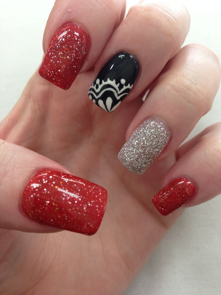 Black Red Silver With Lace Nail Design : 6 Black Red Nail Design ...