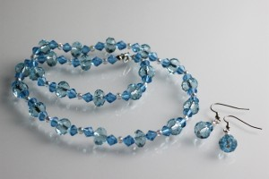 Jewelry , 6 Blue Crystal Necklace And Earring Set : Blue Crystal Necklace and Earring Set