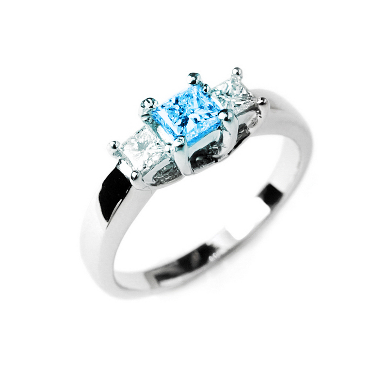 Jewelry , 5 Diamond Ring : Blue Diamond Ring With Side Diamonds