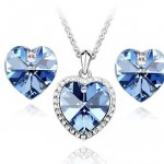 Blue Swarovski Crystal Heart Pendant Necklace And Earring Set , 6 Blue Crystal Necklace And Earring Set In Jewelry Category