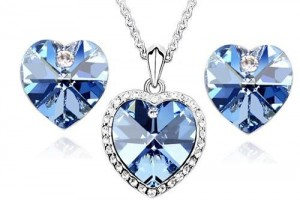 Jewelry , 6 Blue Crystal Necklace And Earring Set : Blue Swarovski Crystal Heart Pendant Necklace and Earring Set