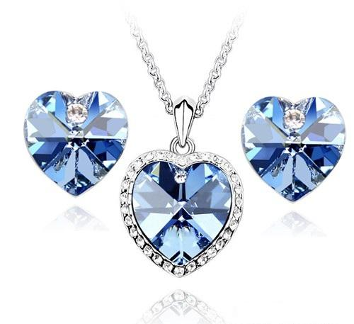 6 Blue Crystal Necklace And Earring Set in Jewelry