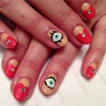 Blue eyes red heart nail art , 5 Bloodshot Eyes Nail Design In Nail Category