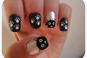 Nail , 7 Black Kitty Nail Art : Cartoon Cat Nail Art