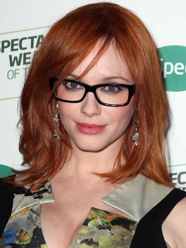 Hair Style , 4 Short Hairstyles For Women Over 40 With Glasses : Christina Hendricks Glasses Hairstyle