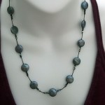 Coin Pearl and Jet Swarovski Crystal Tin Floating Necklace , 6 Floating Pearl And Crystal Necklace In Jewelry Category