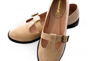 Shoes , 8 Vintage Style Dress Shoes : Cream Vintage Nautical Style Flat Mary Jane Dress Shoes