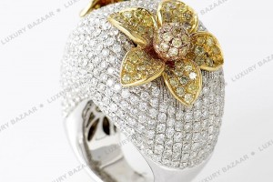 Jewelry , 12 Gold Diamond Ring : Diamond Flower Ring