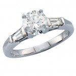 Diamond Ring With Tapered Baguettes , 5 Diamond Ring In Jewelry Category