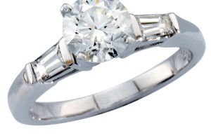 Jewelry , 5 Diamond Ring : Diamond Ring with Tapered Baguettes