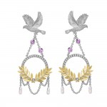 Dove And Olive Branch Drop Earrings , 8 Gold Drop Earrings In Jewelry Category