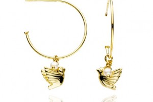 Jewelry , 8 Gold Drop Earrings : Dove and Pearl Gold Vermeil Hoop Earrings