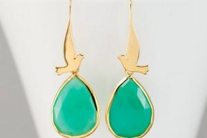 Jewelry , 8 Gold Drop Earrings : Drop Earrings Flying Dove