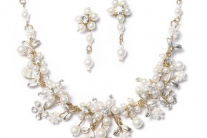 Jewelry , 7 Pearl And Crystal Necklace :  Gold Bridal Jewelry Set Pearl Crystal Necklace