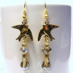 Gold Dove Bird with Swarovski Crystals Earrings , 8 Gold Drop Earrings In Jewelry Category