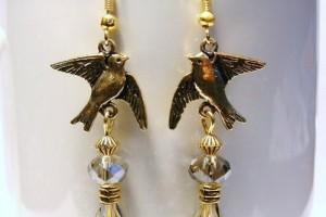 Jewelry , 8 Gold Drop Earrings : Gold Dove Bird with Swarovski Crystals Earrings