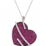 Heart Necklace with Ruby and Diamonds , 7 Heart Necklaces For Women In Jewelry Category