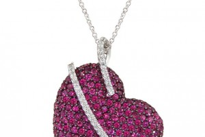 Jewelry , 7 Heart Necklaces For Women : Heart Necklace with Ruby and Diamonds