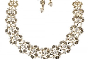 Jewelry , 6 Pearl And Crystal Necklace : WHOLESALE JEWELRY TOWN : CRYSTAL PEARL VINE NECKLACE