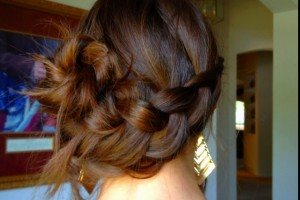 Hair Style , 6 Buns With Braiding Hair : Inverted side French braid bun hair