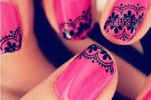Nail , 10 Lace Nail Art Design : Lace Nail pink Art Designs