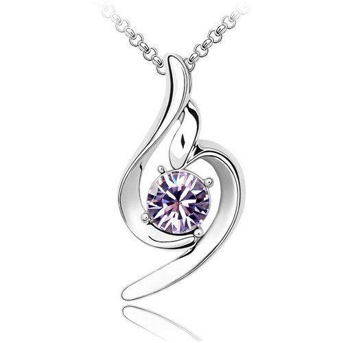Jewelry , 11 White Gold Necklaces Women : Light Purple Genuine Crystal Necklaces Pendant