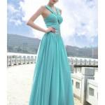 Long Blue Evening Dresses Vintage Chiffon Prom Dresses , 7 Long Vintage Prom Dresses In Fashion Category