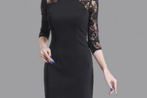 685x1024px 6 Black Lace Dress With Long Sleeves Picture in Fashion