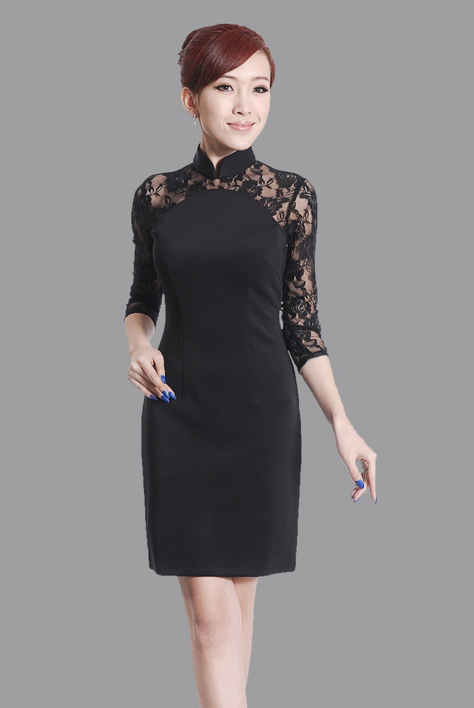 6 Black Lace Dress With Long Sleeves in Fashion