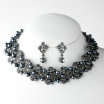 Grey Pearl Necklace & Crystal Jewelry Set NE 969 - Wedding Jewelry ... , 6  Pearl And Crystal Necklace In Jewelry Category