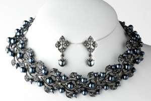 Jewelry , 6  Pearl And Crystal Necklace : Grey Pearl Necklace & Crystal Jewelry Set NE 969 - Wedding Jewelry ...