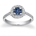 Natural White / Lab Grown Blue Diamond ring , 5 Diamond Ring In Jewelry Category