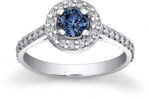Jewelry , 5 Diamond Ring : Natural White / Lab Grown Blue Diamond ring