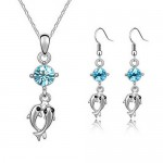 Necklace and Earring Jewelry Set , 6 Blue Crystal Necklace And Earring Set In Jewelry Category