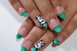 Nail , 5 Panda Nail Art Designs : Panda Green Nails Art Designs