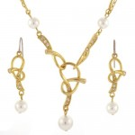 Pearl Crystal Adorned Twist Gold Plated , 6 Crystal Necklace And Earring Set In Jewelry Category
