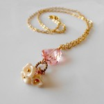 Pink Crystal Necklace, Etsy seller Five Little Gems , 7 Crystal Necklace Etsy In Jewelry Category