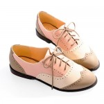 Pink Lace Up Flat Shoes , 8 Vintage Style Dress Shoes In Shoes Category