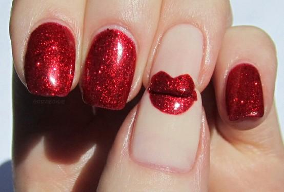 Nail , 7 Lips Nail Art Design : Red Lips Nail Art And Design